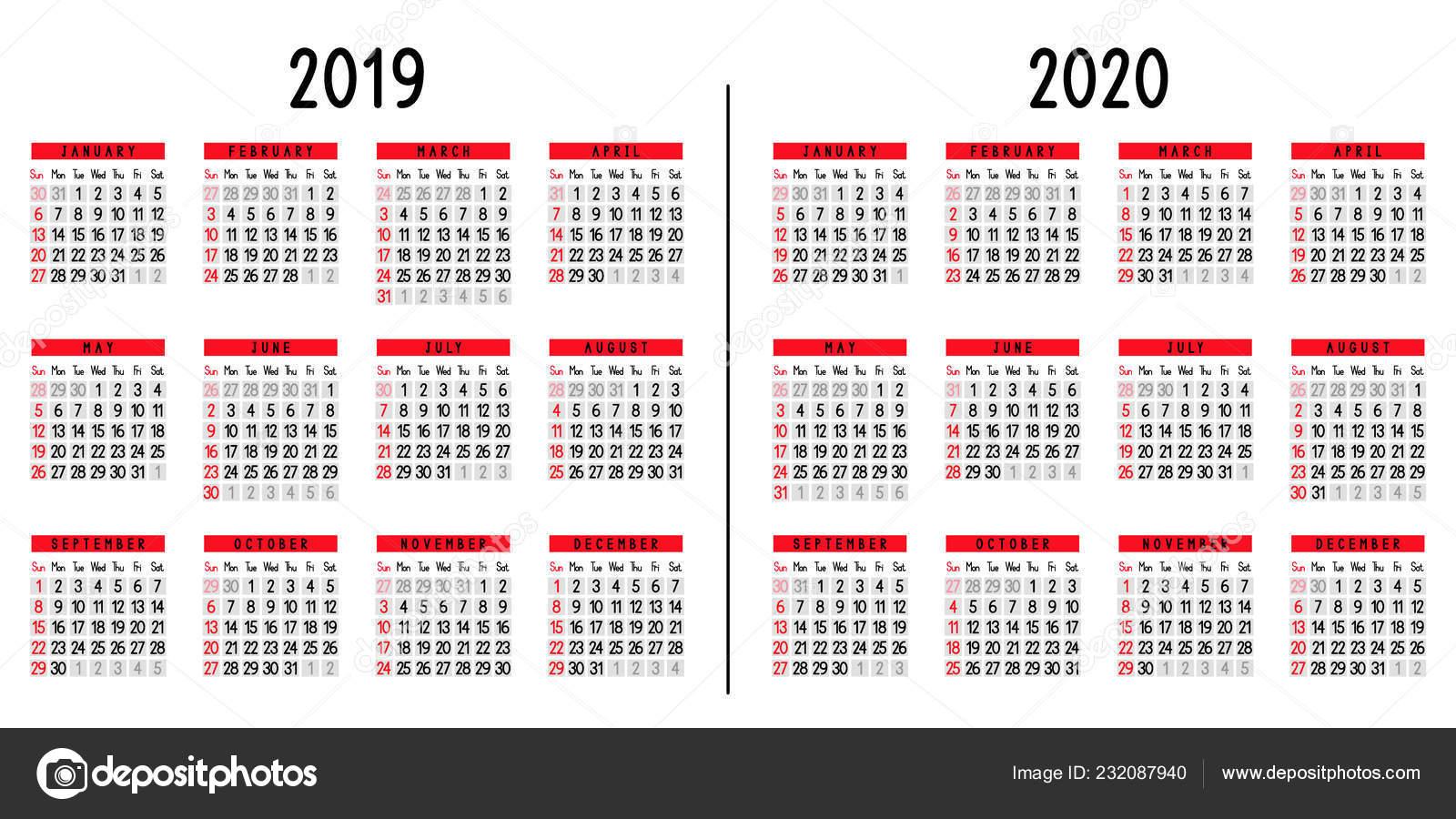 Calendario Colombia 2020.Calendar 2019 2020 Week Starts Sunday Vector Illustration