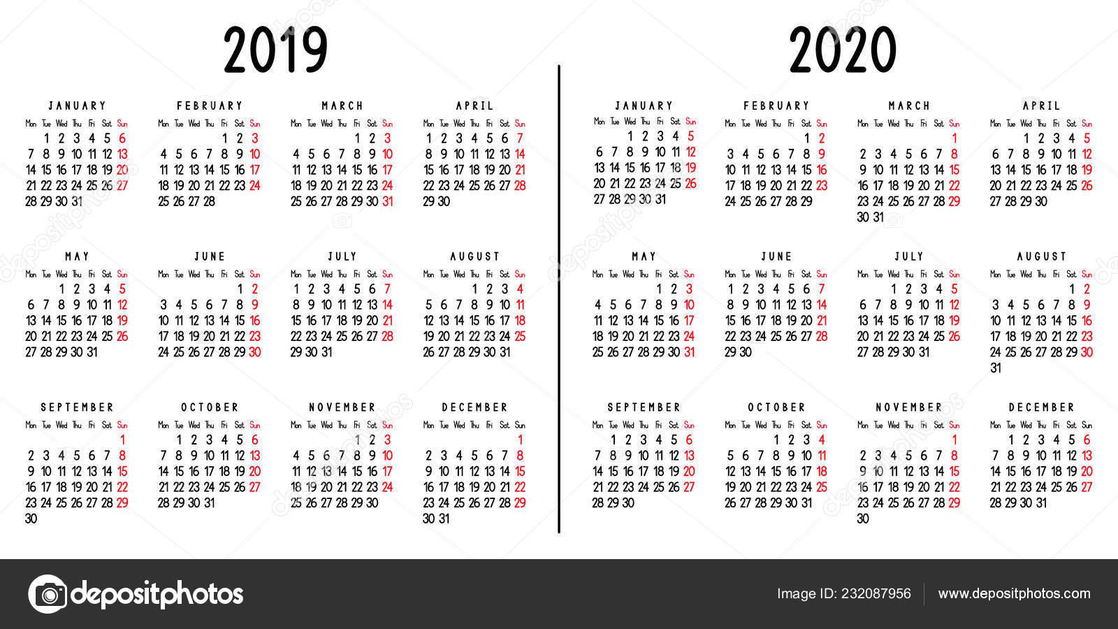 Calendario 2020 Con Week.Calendar 2019 2020 Week Starts Monday Vector Illustration