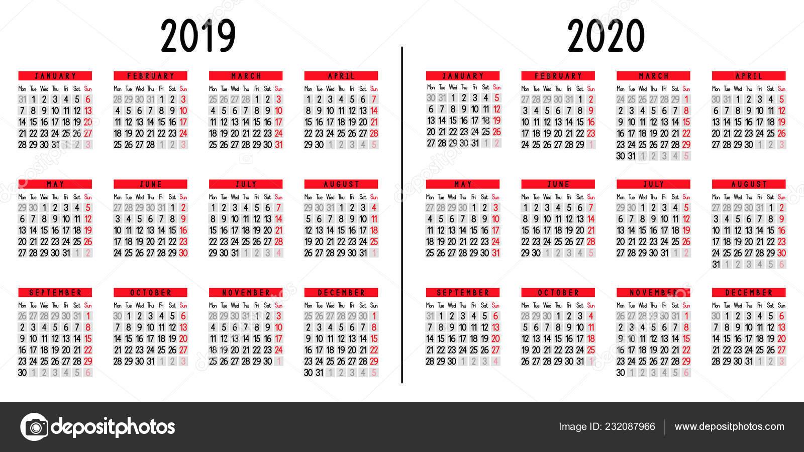 Calendario 2019 Week Number.Calendar 2019 2020 Week Starts Monday Vector Illustration