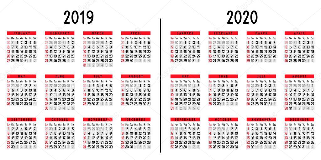 Calendario 2019 Y 2020 Con Festivos Para Colombia.Calendario 2019 2020 Semana Comienza Domingo Ilustracion