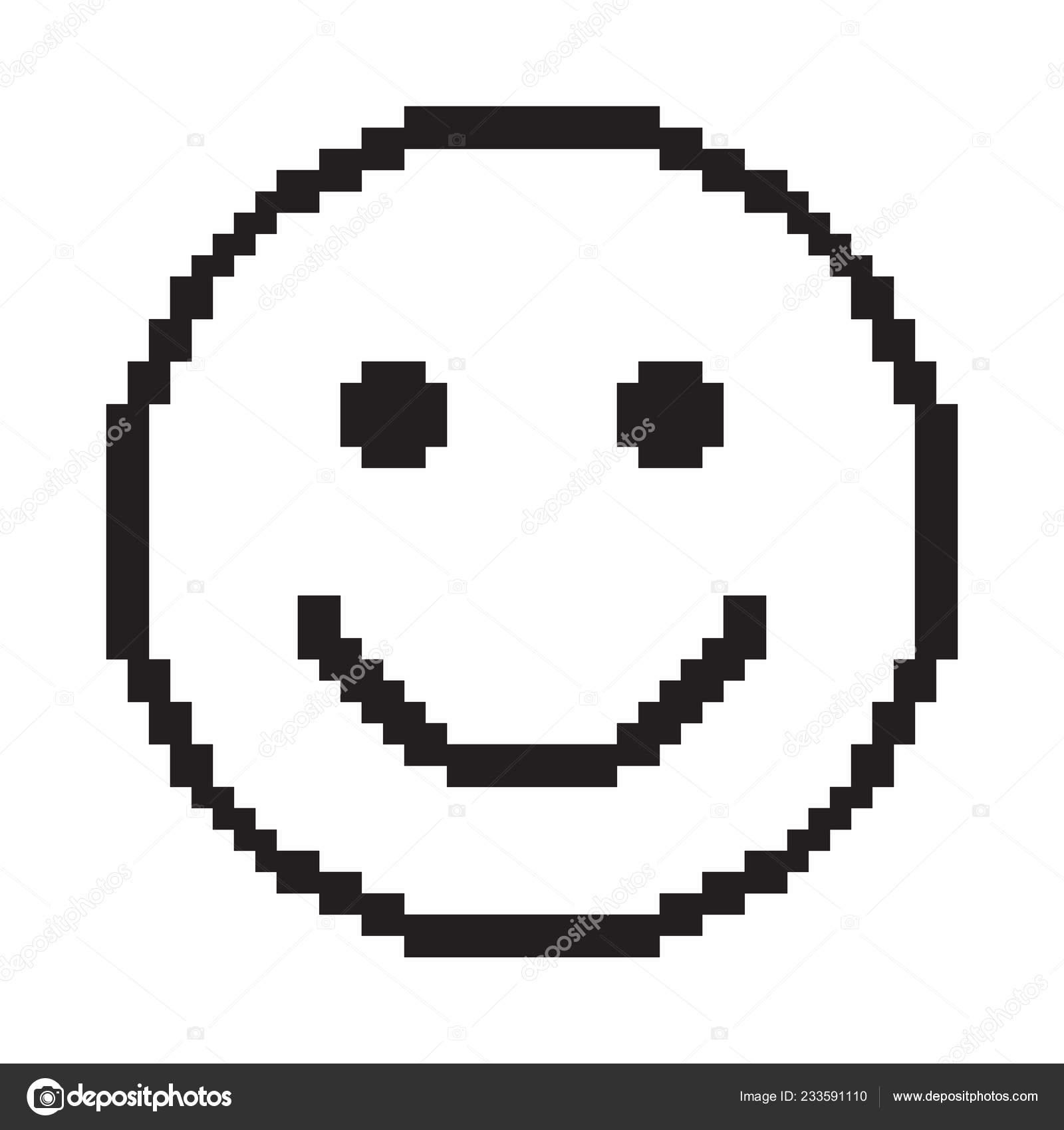 Smile Icon Happy Face Symbol Pixel Art Black White Vector