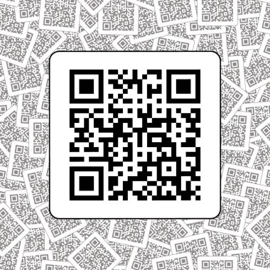 Qr code on the qr codes background. Product sign. Black and white. Vector illustration.