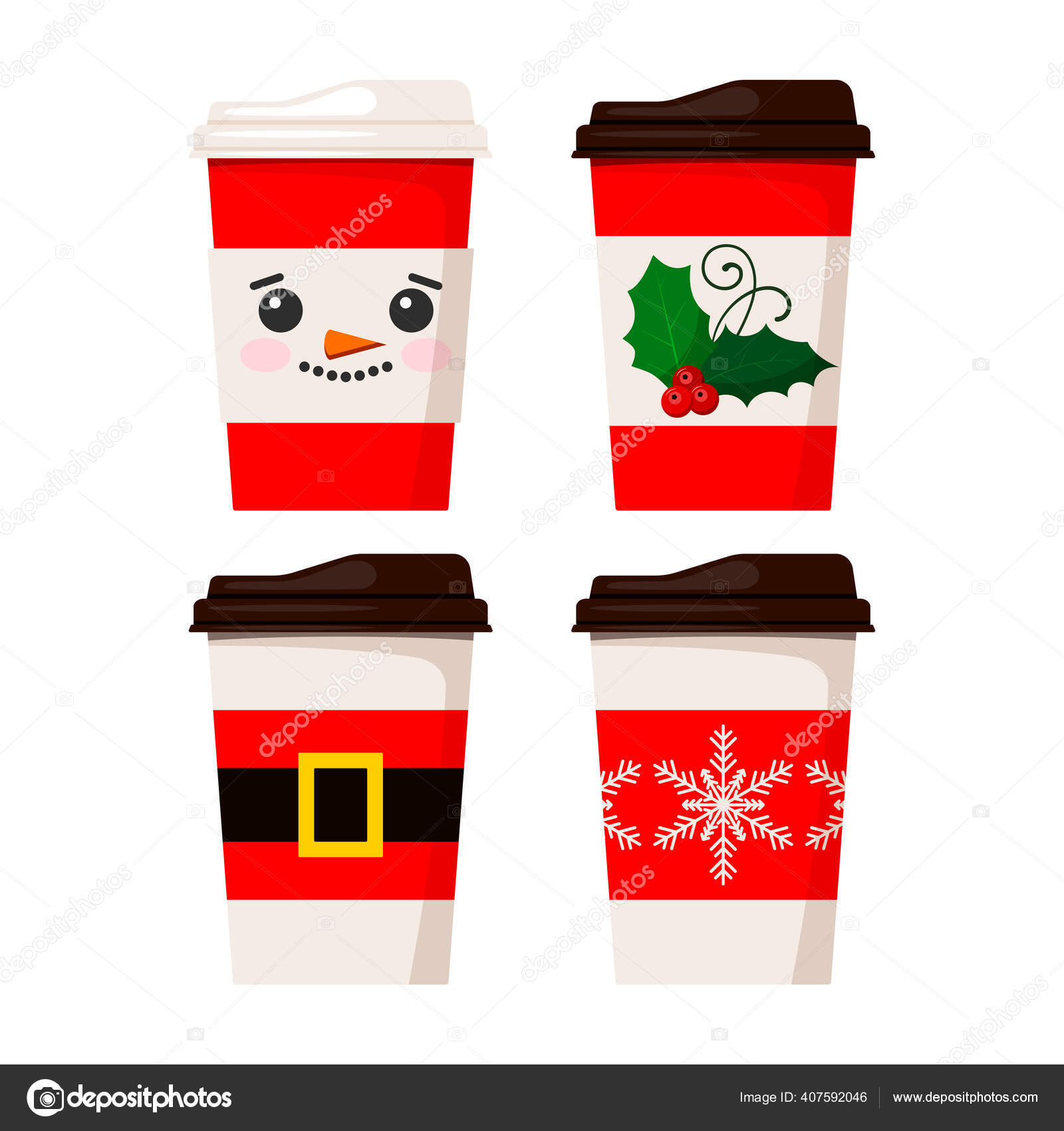 Merry Christmas Coffee Cups Isolated On White Background Vetores De Stock C Baldezh 407592046