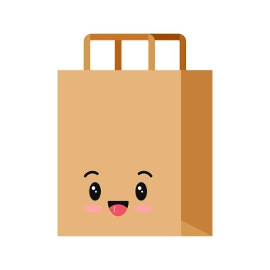 Packaging for goods emoji character isolated on white background. Smilling kraft brown cardboard supermarket, shop, restaurant, fast food package emoticon. Vector flat design pack icon illustration. icon