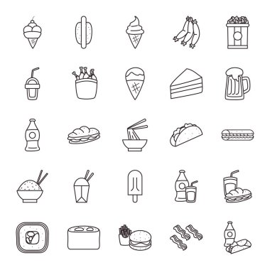 fast food line style icon set vector design