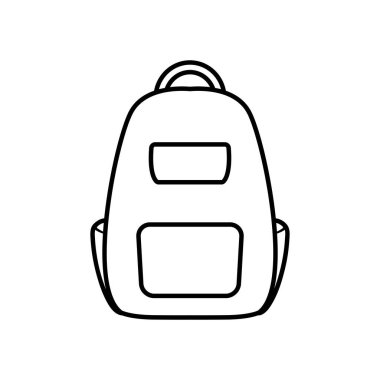 School backpack icon over white background, line style, vector illustration icon
