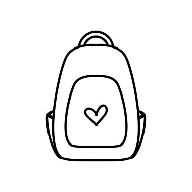 School backpack with heart design over white background, line style, vector illustration icon