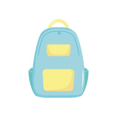 School backpack icon over white background, flat style, vector illustration icon
