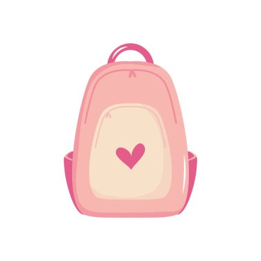 School backpack with heart design over white background, flat style, vector illustration icon