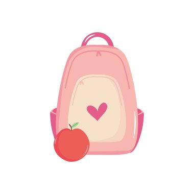 School backpack and apple fruit over white background, flat style, vector illustration icon