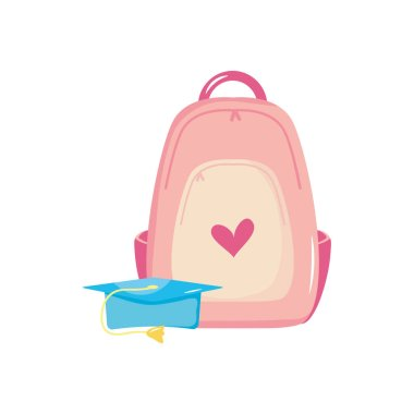 Graduation cap and school backpack icon over white background, flat style, vector illustration icon