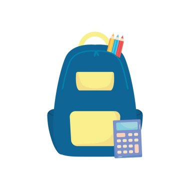 School backpack with color pencils and calculator over white background, flat style, vector illustration icon