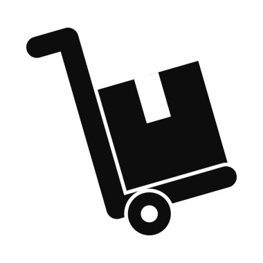 Handcart with box over white background, silhouette style, vector illustration icon