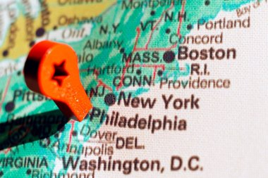 marker on the map near Philadelphia