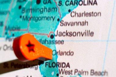 marker on the map near Orlando