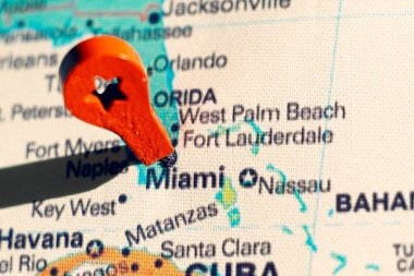 marker on the map near Miami