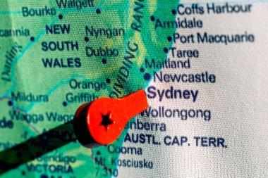marker on the map near Sydney