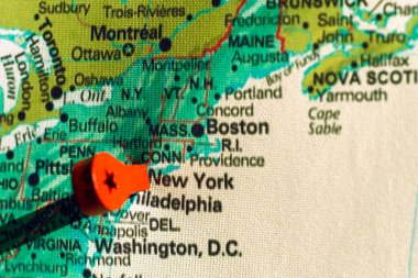 marker on the map near New York