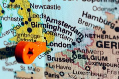 marker on the map near London