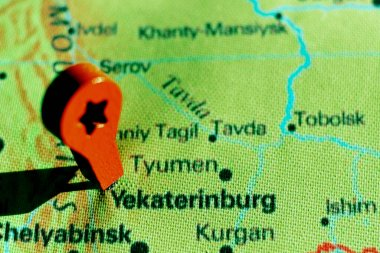 marker on the map near Yekaterinburg
