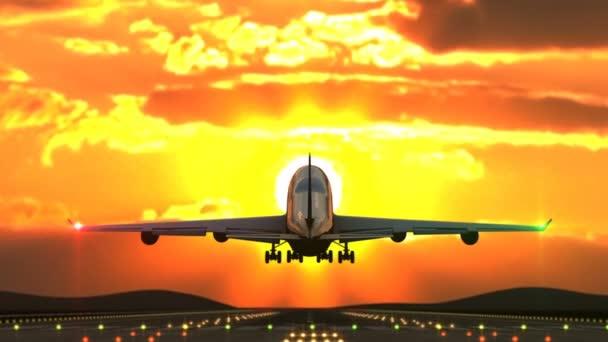Großflugzeug bei Landung gegen Sonnenuntergang von Kamera eingefangen