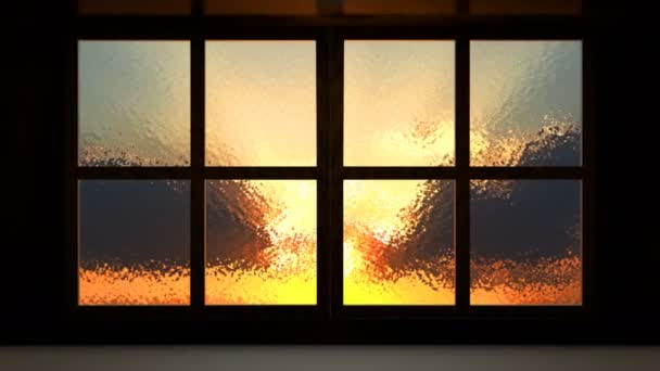 Sunset view from the opened window
