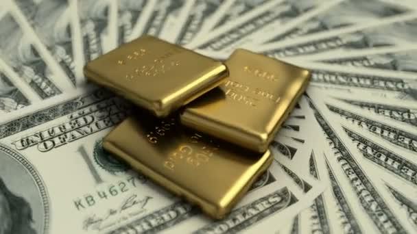 Jemné zlaté pruty a 100 amerických bankovek