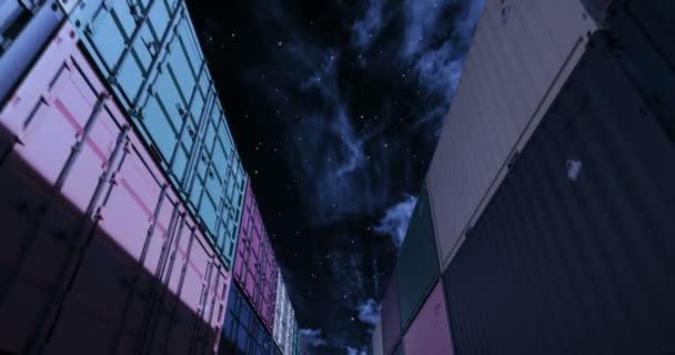 Szállítás konténerek alatti éjféli ég zökkenőmentes hurok