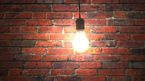 Žárovka houpající se v tmavé cihlové místnosti, bezešvé smyčky