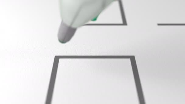 Zelené pero pro psaní zaškrtávací políčko na bílém papíře, zblízka