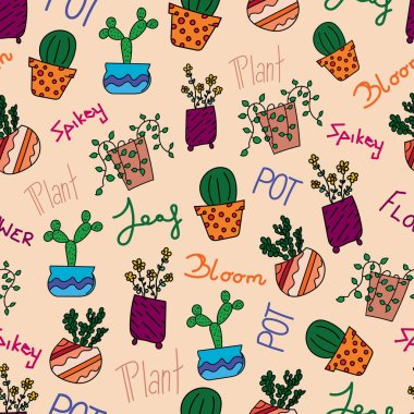 Seamless vactor pattern with cute pot plant and words on light background.