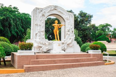 PATTAYA, THAILAND -JUNE 11, 2019: Johann Strauss statue in Mini Siam Park. Mini Siam is a famous miniature park attraction. It had been constructed in 1986