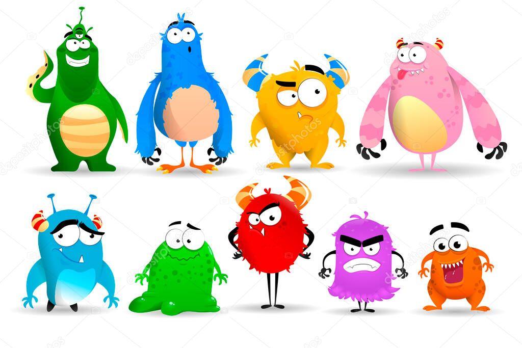 Funny Fluffy Monster Set Expressing Emotions Vector Illustration Premium Vector In Adobe Illustrator Ai Ai Format Encapsulated Postscript Eps Eps Format