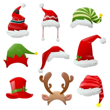 Cartoon Christmas Santa hats. Hats of different Christmas characters. Big set of realistic Santa hats isolated on white background. Cartoon new year face masks. Vector illustration icon