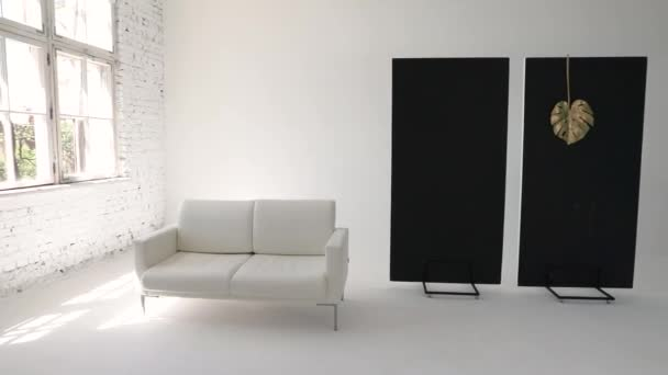 Big white sofa in trendy white photo studio
