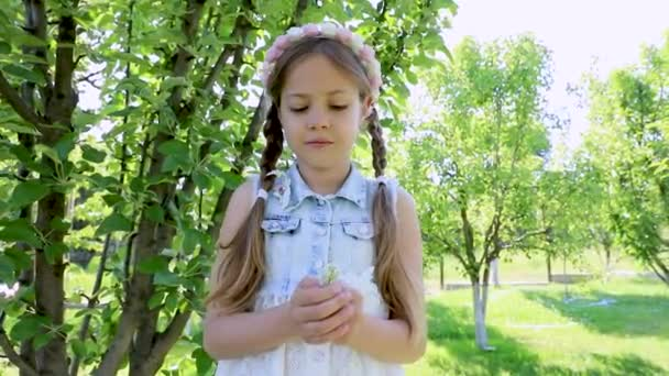 a little girl with pigtails smiles and looks at the camera. a child in a summer green garden