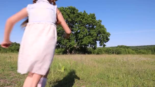 a little beautiful girl in a dress runs down the field. child and large old tree