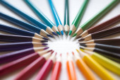 Bright beautiful colored pencils, felt-tip pens, watercolors, plasticine, everything for childrens creativity.