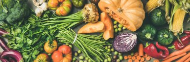 Healthy vegetarian seasonal Fall food cooking background. Flat-lay of Autumn vegetables and herb from local market over grey concrete background, top view, wide composition. Vegan, alkaline diet food