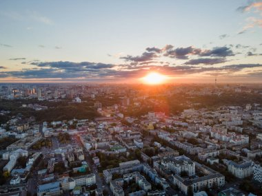 Aerial view of the big city at sunset