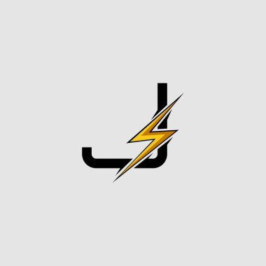 Letter J Electrical Bolt logo icon. Design concept Abstract techno thunder bolt with letter J .