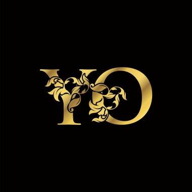 Golden Luxury Y and O, YO Letter Initial Logo Icon, Monogram Floral Leaf Logo Design.