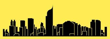 flat city silhouette, simple vector illustration