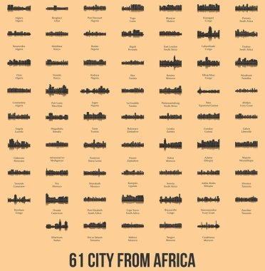 set of flat city silhouettes, simple vector illustration