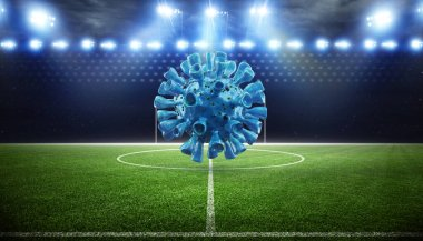 Euro soccer cancellation event concept. Ball with coronavirus mask