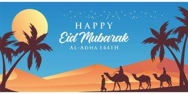 Happy eid mubarak. Islamic Background Design for banner, flyer, greeting card vector