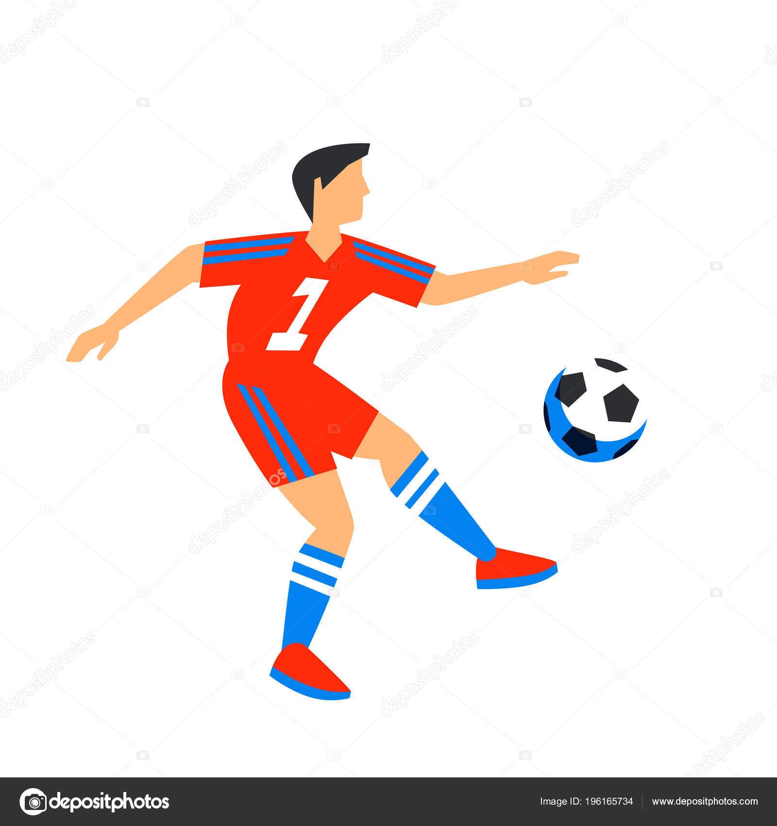Abstracto en rojo futbolista con balón. Jugador de fútbol aislados sobre  fondo blanco. Copa Mundial de fútbol. Jugador del balompié en Rusia 2018. 972cf6db59b20