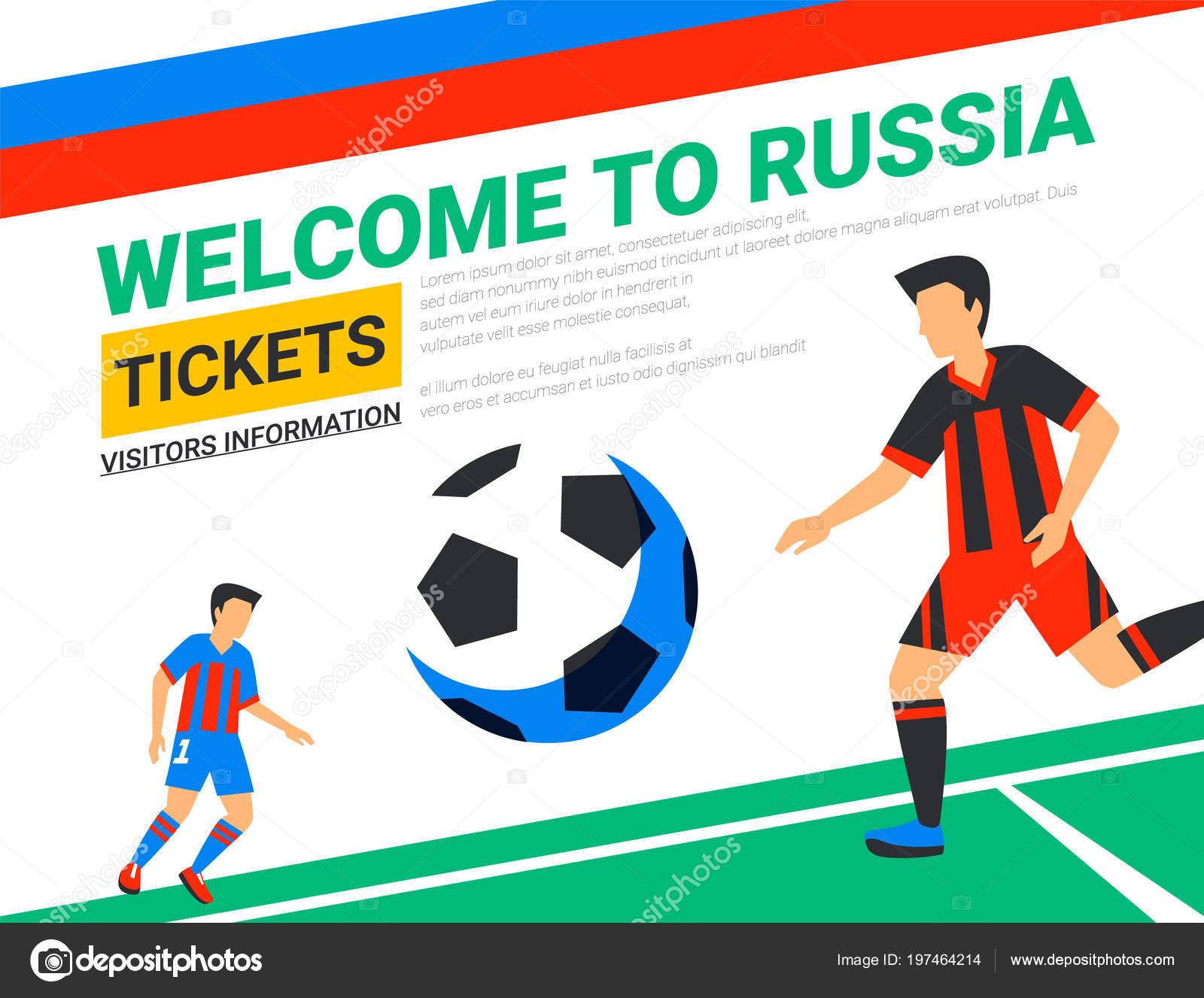 dfe23f10aa Jogadores de futebol com bola de futebol. Bem-vindo ao modelo de banner da  web na Rússia. Tolo cor ilustração em estilo simples.