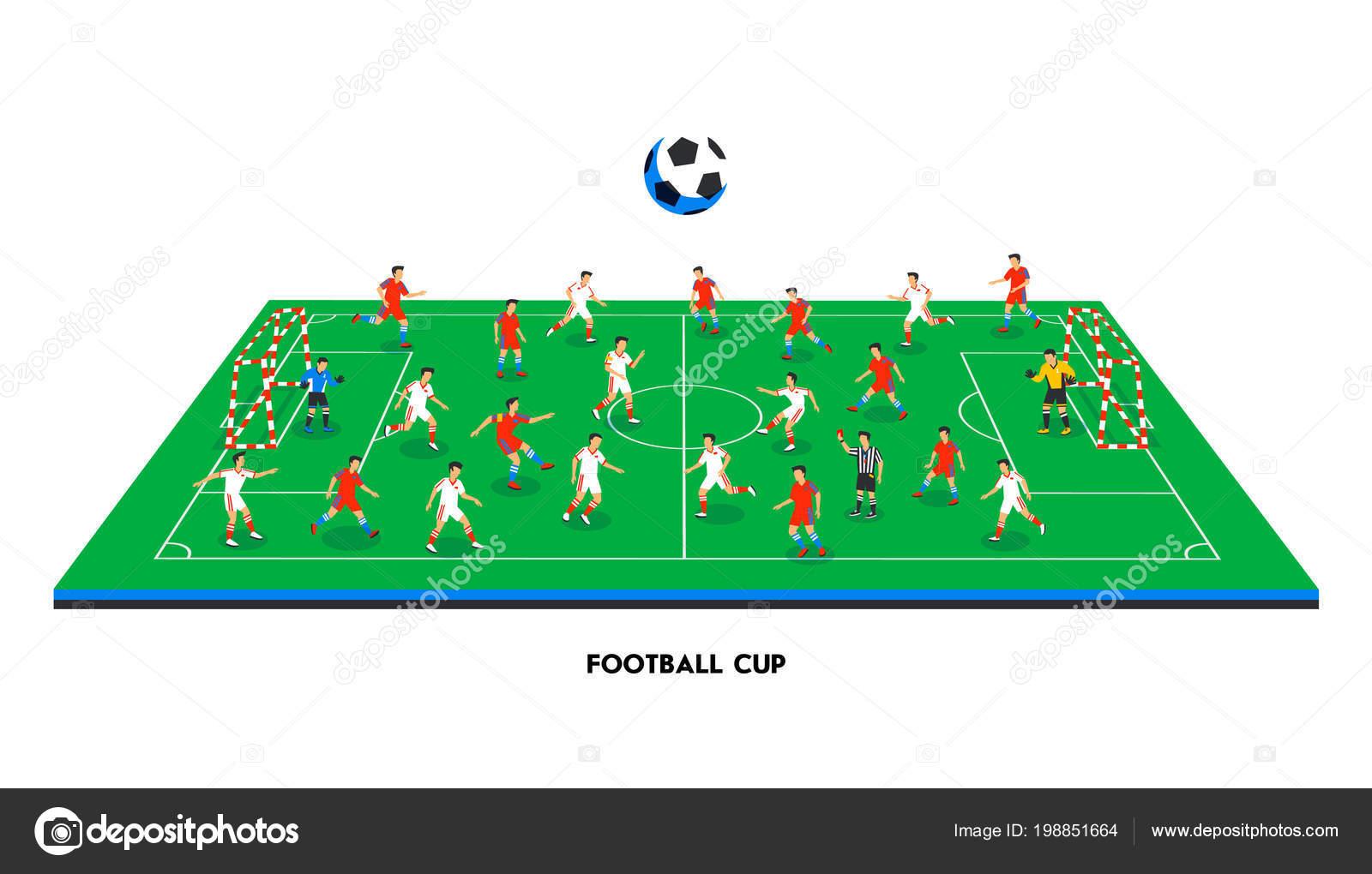 Isometrische Fußballfeld Mit Fußball Teams Thema Sport Sportplatz