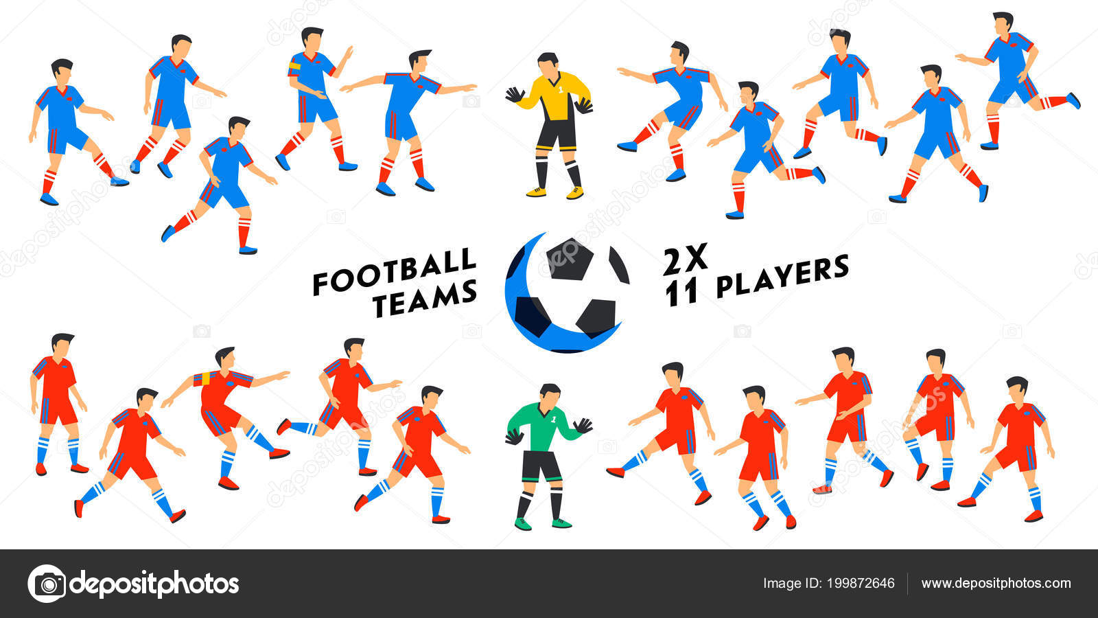 Fußball Nationalmannschaft Gesetzt Zwei Volle Fußballmannschaften